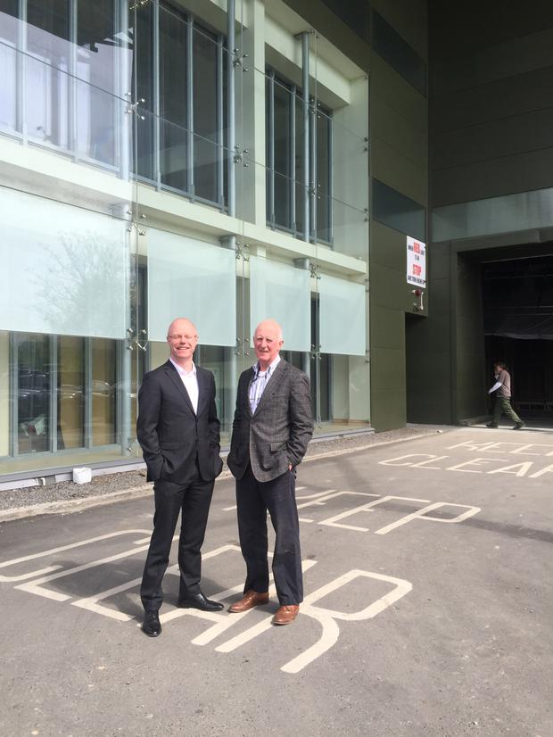 Deputy Stephen Donnelly and Joe O'Connell outside Ashford Studios