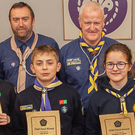 Fionn Ó Conchuir, Dara Tansey, Jack Breen, Deirbhile Gavaghan, Emma Seckington and Fennell Wolohan, recipients of the Sea Scout Chief Scout Award, with their leaders from Arklow Sea Scout