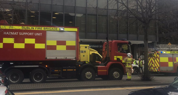 Members of Dublin Fire Brigade outside the Department of Health after it was evacuated on Monday