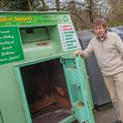Bill Porter beside one of the clothes donation bins, which is in aid of Rathdrum Cancer Support.
