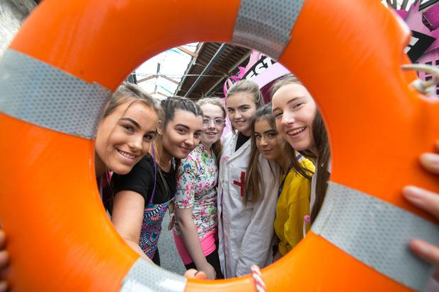 Leah Weldon, Marguerite O'Donovan, CJ O'Neill, Lucy Mc Anaspie, Leah Carthy Walker and Amiee Bodell from St Mary's College at the final of the AIB Build a Bank Challenge at the RDS in Dublin.