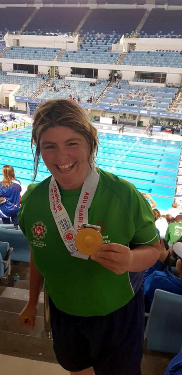 Aisling Beacom from Wicklow town proudly showing off her gold medal which she won at the Special Olympics World Games in Abu Dhabi.