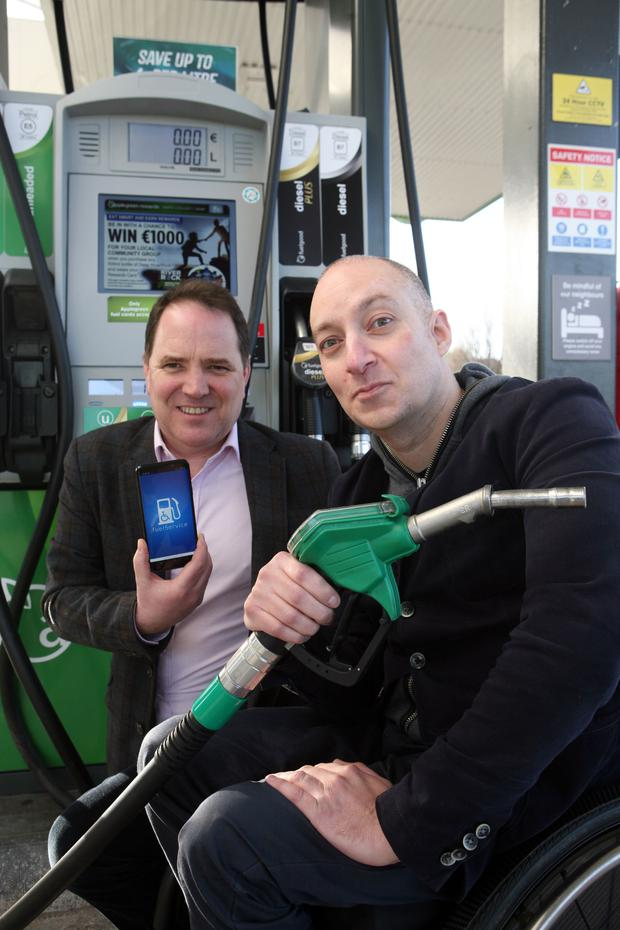 Richard Ryder, marketing manager at the Disabled Drivers Association of Ireland with Niall El-Assaad, creator of the free fuelservice app for disabled drivers