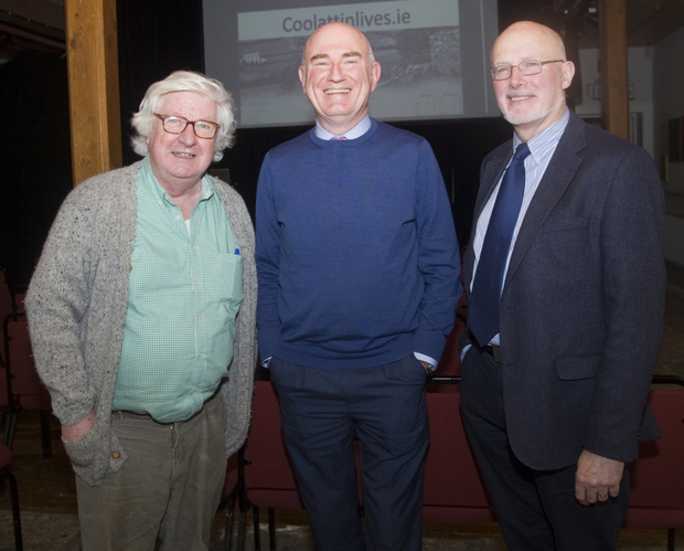 Ciaran Brady, Ciaran Wallace and Frank Gallagher at the launch of CoolattinLives.ie in the Courthouse Arts Centre, Tinahely