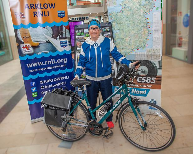 Mary Nolan Hickey fundraising in the Bridgewater Shopping Centre last weekend before she sets off around Ireland again, this time on her bike, this coming Sunday