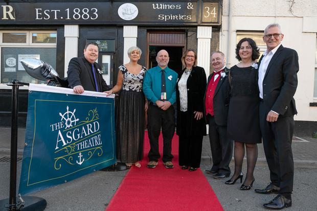Colm Kavanagh, Bri-Ann Greene Finn, Brian Greenstreet, Yvonne Kenny, Colm Moules, Julie Byrne and Paul Pritchard of the Arklow Music and Arts committee at the official opening of the Asgard Theatre, above Kenny's of the Harbour