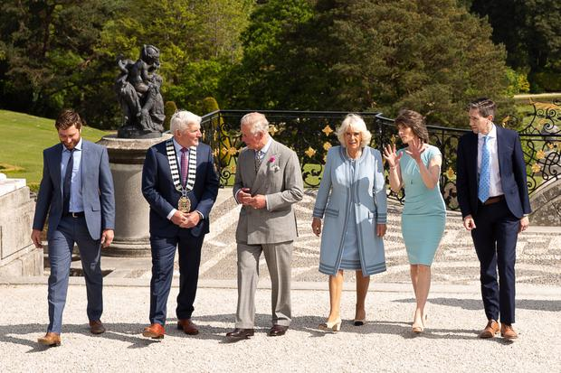 Head Gardener Alex Slazenger, Cllr Pat Vance, HRH The Prince of Wales, HRH The Duchess of Cornwall, Sarah Alazenger and Minister Simon Harris at Powerscourt