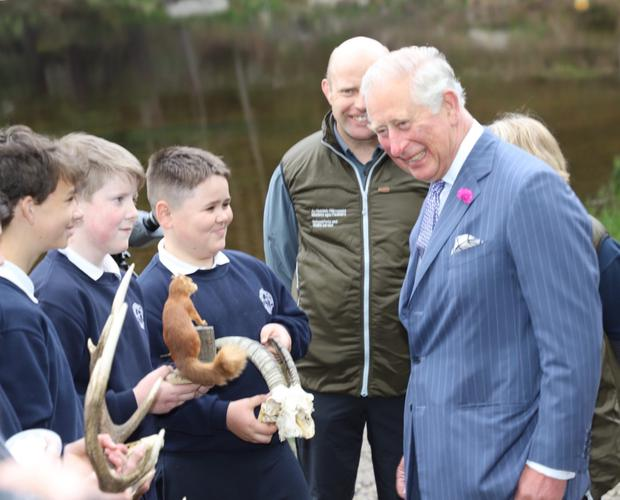 366d9208232 Students from Scoil Chaoimhín Naofa showing HRH the different types of  animals that live in Glendalough
