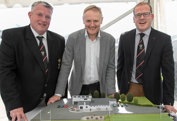 Joe Schmidt with Club President Bert Nicholson and Brian Clarke at the Audience with Joe Schmidt Fundraiser for Wicklow Rugby Club