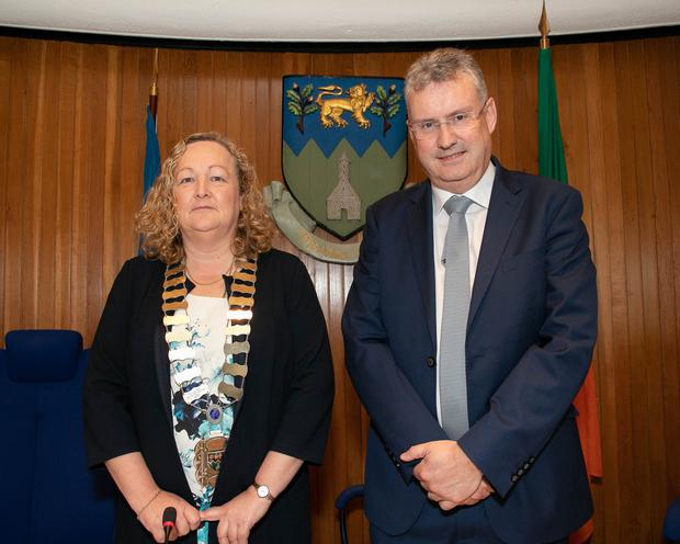 Newly elected Cathaoirleach Wicklow County Council Irene Winters with Chief Executive Frank Curran