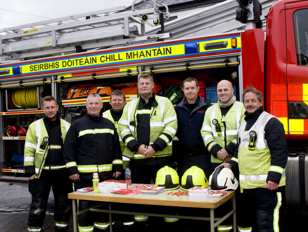 Local fire service members: Billy Cullen, Patsy Maher, Keven Corcoran, John Cullen, Noel Dowling, Michael O'Neill and Seamus Halloran