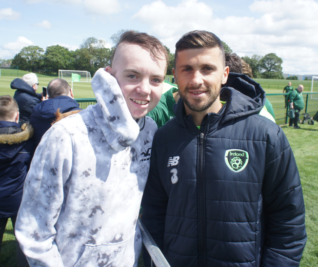 Dylan Lynch with Ireland player Shane Long