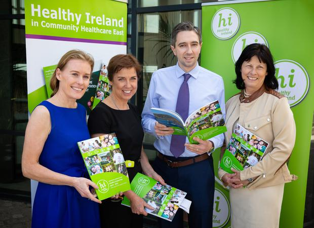 Minister Simon Harris with Dr Stephanie O'Keeffe, National Director of Strategic Planning and Transformation; Martina Queally, Chief Officer Community Healthcare East; and Siobhan Fitzpatrick, Head of Service for Health and Well Being, at the launch of the Healthy Ireland Plan for the east