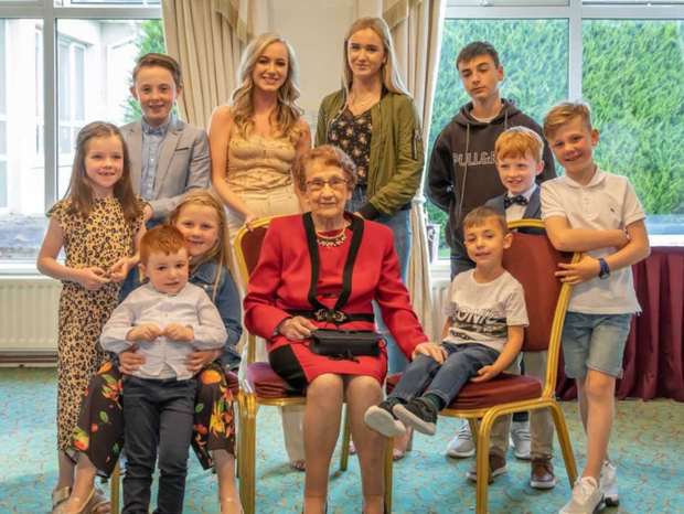 Nan Ward with some of her great-grandchildren at her recent 100th birthday celebrations