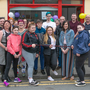 Jessica Byrne cuts the ribbon on the new Inspire Youth Centre in Rathdrum with Katie Byrne and Natasha Shortall, members of the public and members of Crosscare East Wicklow Youth Service, Linda Lambert, Angeline Pluck, Karen Nolan and Fiona Creedon