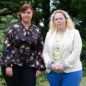 Antoinette Smith's daughters, Rachel and Lisa, appealing for information about their mother's murder, at Bray Garda Station last Friday