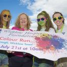 Cathaoirleach of Wicklow County Council, Cllr Irene Winters (centre) and friends at the launch of the 5k Colour Run for Wicklow Hospice