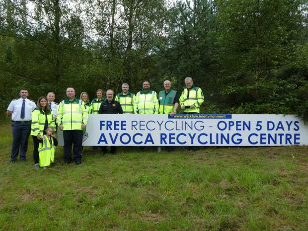 Ger O'Dea and Macarton Hughes from the National Ambulance Service, Myles Doylefrom Avoca Recycling Centre (centre) and Rathdrum Community First Responders