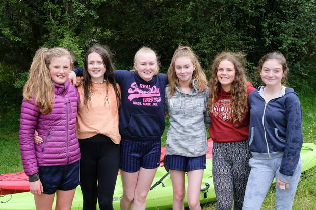 Eva Doyle, Rachel Lacey, sisters Aoife and Ashling Stacey who were the winners of the U17 Girls race, Ella McAulay and Grace Cullen