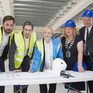 Wicklow County Council Chef Librarian Brendan Martin, Minister Eoghan Murphy, Minister Simon Harris, Architect Antoinette O'Neill, Cathaoirleach of Wicklow County Council Irene Winters and Wicklow County Council Head of Operations Michael Nicholson at the commencement of construction of the new library in Wicklow Town