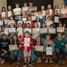 The talented young people who received their certificates at the MYTh presentation night in the Holy Rosary School, Wicklow town