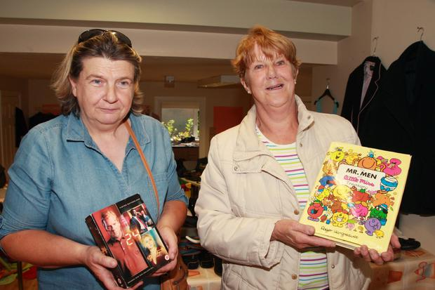 Noeleen Deegan secretary at Ballyellis National School and Doreen Tobin at the pop-up shop, Main Street, Carnew supporting 'Hollywood comes to Askamore'