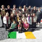 The Inbhear Mór Performance Ensemble during their time at the Drum Corps International competition in the United States.