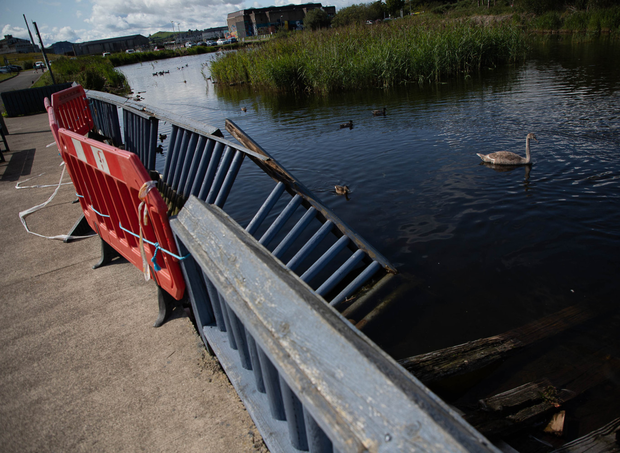 Broken railings at the Duck Pond in Arklow