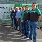 Arklow United Football Club committee members with club secretary David McBride; Hugh O'Keeffe, CEO of Arklow Credit Union; Cllr Pat Fitzgerald, Cathaoirleach of Arklow Municipal District; and Richie Hall and Billy Roberts from Arklow Credit Union at the cutting of the ribbon on Arklow Credit Union Park