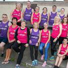 Mary Nolan Hickey (front row third) and runners taking part in this year's marathon