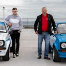 Father and son Kevin and Billy O'Neill with their Ford MKIIs