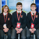 Ryan Crinnion, Stéphane de Bairéid and Éimhín Morgan-Fennessy from Presentation College Bray with their project 'Is Humanity Becoming More Eco-Friendly?'