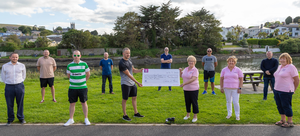 David O'Neill and fellow Grow2Mow fundraiser mates presenting a cheque for €4,736 to Eileen Earls, Pauline Leonard and Ann McCarthy of Wicklow Cancer Society