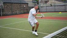 Joe Hillman in action at Wicklow Tennis Club