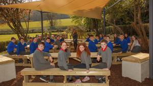 Fifth and sixth class pupils making good use of the new outdoor classroom at St Joseph's NS in Glenealy