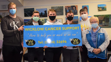 Eileen Earls of Wicklow Cancer Support with Jack Shanahan, Mark Britchfield, Dylan O'Connor, Wiktor Laskowski and Michael Wright