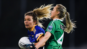 Meadhbh Deeney, of Wicklow, in action against Molly McGloin, of Fermanagh, during the All-Ireland Junior final in Parnell Park. Photo by Matt Browne / Sportsfile