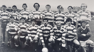 The Blessington team that won the Senior football championship in 1983 - back: Dermot Hennessy, Ciaran Shannon, Paddy Sargent, Shay Sargent, Paddy Lennon, Paddy Quinn, Ronan Hennessy, Pat Quinn. Front: Martin Shannon, Bob Boothman, Kevin Hanlon, Pat O'Toole, Patsy O'Donoghue, Tony O'Hagan, John Finnegan