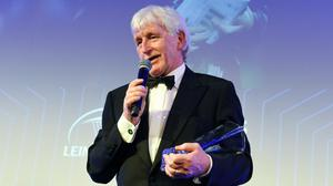 Paul McNaughton with the Guinness Hall of Fame award at the Leinster Rugby Awards in 2018. Photo by Ramsey Cardy / Sportsfile