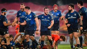 Josh van der Flier (red cap) celebrates after Leinster's win over Munster last weekend. Both he and Jack Conan came on as replacements. Photo: Eóin Noonan / Sportsfile