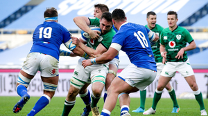Bray's Jack Conan is tackled by Niccolò Cannone and Giosuè Zilocchi of Italy during the Guinness Six Nations Rugby Championship match between Italy and Ireland in Rome. Photo by Roberto Bregani / Sportsfile