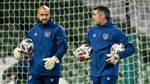 Republic of Ireland goalkeeping coach Steve Williams, right, and Darren Randolph prior to the UEFA Nations League B match between Republic of Ireland and Bulgaria at the Aviva Stadium in Dublin last November. Photo by Seb Daly / Sportsfile