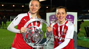 Louise Quinn and Katie McCabe of Arsenal women celebrate with the trophy after the WSL Continental Cup final back in 2018. (Photo by Catherine Ivill/Getty Images)