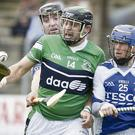Bray's Brian Duggan is closed down by St Pat's Mark conway during the SHC semi final in Aughrim. Picture: Garry O'Neill