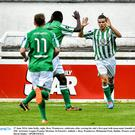 27 June 2014; Jake Kelly, right, Bray Wanderers, celebrates after scoring his side's first goal with team-mate Ismahil Akinade. SSE Airtricity League Premier Division, St Patrick's Athletic v Bray Wanderers, Richmond Park, Dublin. Picture credit: David Maher / SPORTSFILE