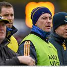 Members of the Wicklow management team, Patrick O'Connor, Darren Magee, Ray Cosgrave and manager Jonny Magee watch the game. Bord na Mona O'Byrne Cup, Group D, Round 1, Wicklow v Carlow IT. Blessington, Co. Wicklow. Picture credit: Ray McManus/Sportsfile.