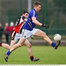 Danny Woods, Wicklow, in action against Anthony Forde, Carlow IT. Bord na Mona O'Byrne Cup, Group D, Round 1, Wicklow v Carlow IT. Blessington, Co. Wicklow. Picture: Ray McManus/Sportsfile.