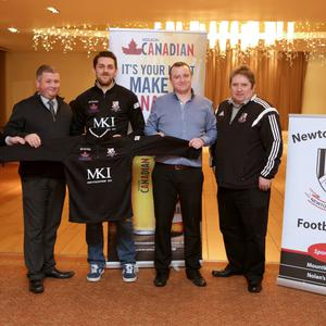 Newtown Feature: (L-R) Paul Duffin (Molson Coors), Robbie Doyle (Molson Coors), Shane Mooney Capt, Richie Butler Mount Kennedy Inn, Paul Lee Club Chairman