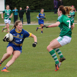 Wicklow's Eleanor Dunne about to go past Limerick's Cathy Mee during the NFL Division 4 semi-final in Stradbally