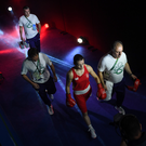Katie Taylor of Ireland walks out with Team Ireland coaches Zaur Antia, right, John Conlan and Eddie Bolger ahead of her Lightweight quarter-final bout against Mira Potkonen of Finland in the Riocentro Pavillion 6 Arena, during the 2016 Rio Summer Olympic Games in Rio de Janeiro, Brazil. Photo by Ramsey Cardy/Sportsfile